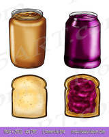 Peanut Butter and Jelly Sandwich Clipart Stamps by Peipei22