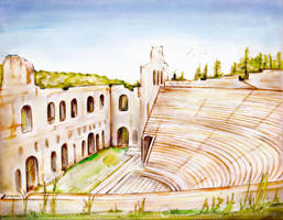 Athens Odeon Of Herodes Atticus by Vulpa-Art