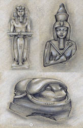 EGYPTIAN STATUES by Vulpa-Art