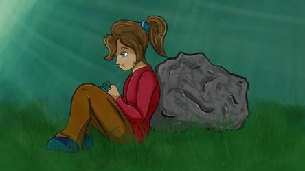 Girl Reading - second major digital art piece! by TheHunterOfEvil