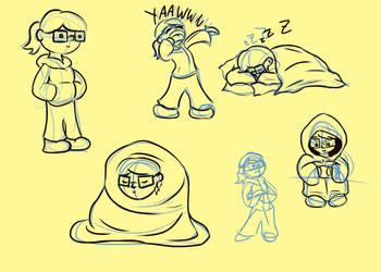 Cartoon sketches of myself by TheHunterOfEvil