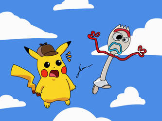 Detective Pikachu and Forky by Finnjr63