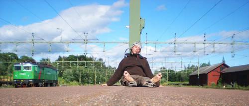 Hangover at trainstation by Swebilius
