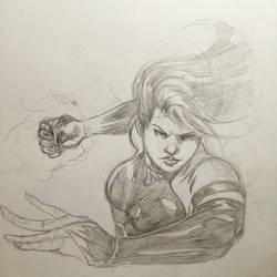 Some late night Psylocke sketching  by rndmtask