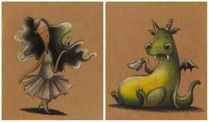 Girl and Sissy dragon by porcelanita