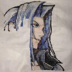 Dissidia Sephiroth Cross Stitch Project (WIP) by guineapiggin