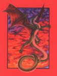 -Dragon Flight At Sunset- by digital-blood