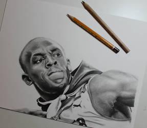 New drawing!! Usain Bolt  by ThomasArt98