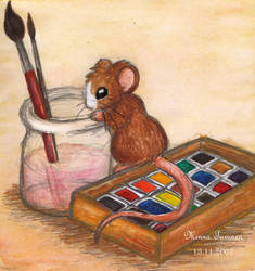 Watercolour Mouse by Amarathimi