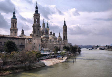 The Ebro River at Zaragoza by E-Davila-Photography