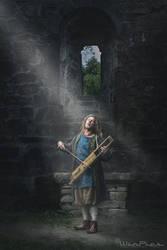 Bowed lyre in church ruin by WinPics