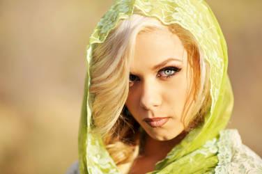 Jessica, Green Scarf, Harsh Light by houstonryan