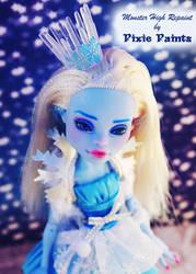 Snow Princess Abbey - Monster High Repaint by PixiePaints