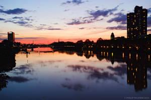 Sunset over Neckar by rindlim
