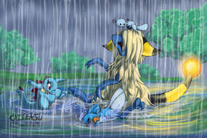 Playing in the Rain by Cattensu