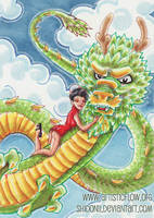 ACEO Dragon Rider by shidonii