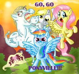 Go, go, Ponyville!! by seriousdog