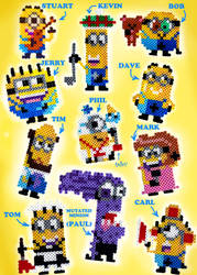 Some perler bead minions by seriousdog