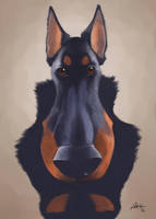Rocky the Beauceron Caricature by CharReed