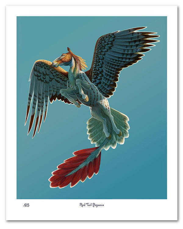 Red Tail Pegasus Print (Limited Edition) by CharReed