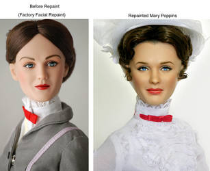 Doll Repaint as Mary Poppins by noeling