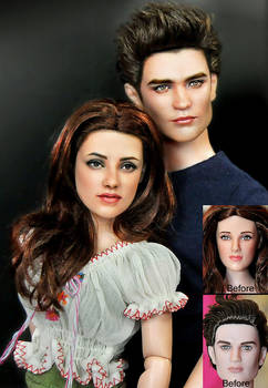Doll Repaint Bella and Edward by noeling