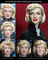 Marilyn Monroe custom doll transformation by noeling