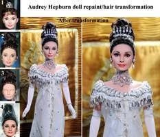 Audrey Hepburn My Fair Lady doll repaint steps by noeling