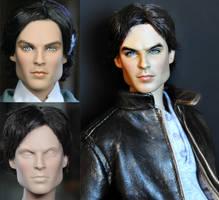 Custom Repaint - Vampire Diaries Damon doll by noeling