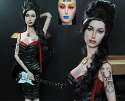 Sybarite doll repainted as Amy Winehouse by noeling