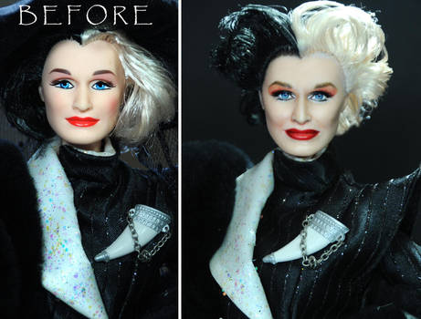 Glenn Close Cruella Devil doll custom repaint by noeling
