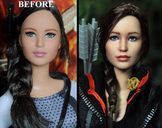 Hunger Games Katniss Everdeen doll repaint by noeling