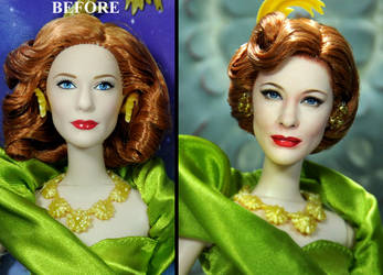 Cate Blanchett as Lady Tremaine doll repaint by noeling