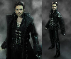 Once Upon A Time Captain Hook Custom Doll Repaint by noeling