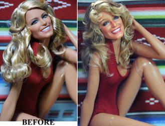 Farrah Fawcett Swimsuit Poster doll repaint by noeling