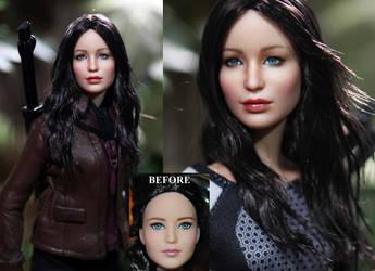 Hunger Games Katniss Everdeen doll custom repaint by noeling
