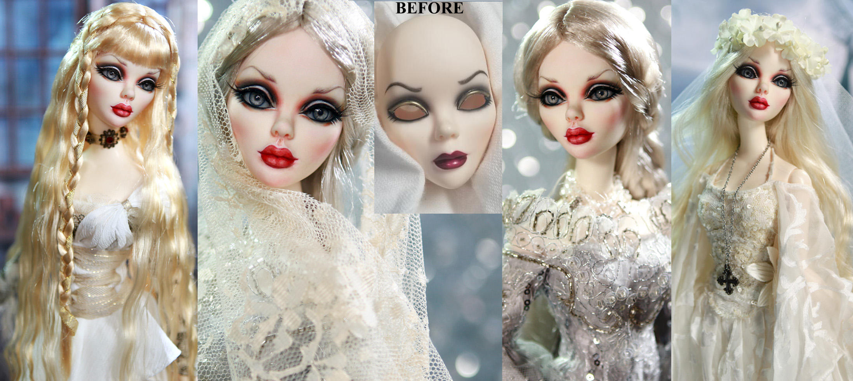 Evangeline Ghastly gothic resin doll repaint by noeling