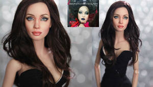 Fashion doll repainted as Angelina Jolie by noeling
