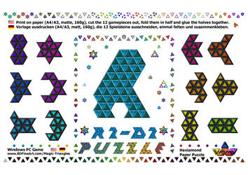 Magic-Triangles Paper-Hexiamond-Gamepieces-11c by 8DFineArt