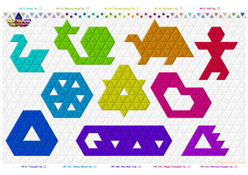 Magic-Triangles Paper-Hexiamond-Puzzles10a by 8DFineArt