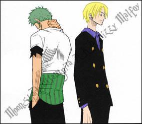 One Piece Sanji x Zoro Color by MoonShadowVampira