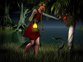 King's Quest IV - Rosella Meets the Swamp Snake by perilsofdawn