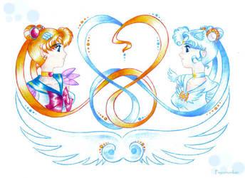 Sailor Cosmos And Moon by Psyconorikan