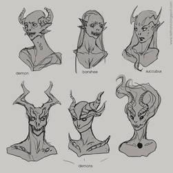 Demon heads concept art by telthona
