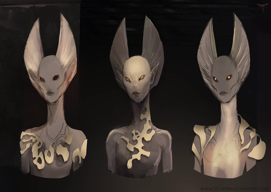 Alien Head Design - Initial Sketch by telthona