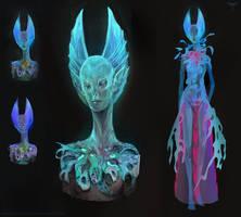 Alien Head Design - Blue by telthona