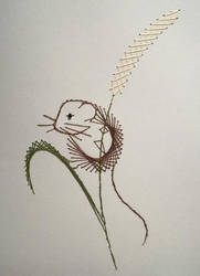 Field Mouse Paper Embroidery by pinkythepink