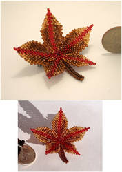 Beaded Leaf Pin - Autumn by pinkythepink