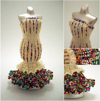 Cream and Rainbow Confetti Mermaid Bead Dress by pinkythepink