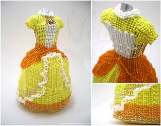 Custom - Princess Daisy Super Smash Bros. BeadGown by pinkythepink